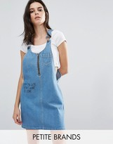 Noisy May Petite Denim 'Sorry' Slogan Overall Dress
