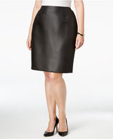 Kasper Plus Size Dot-Jacquard Straight Skirt
