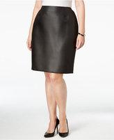 Kasper Plus Size Dot-Jacquard Straight Skirt