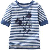 Osh Kosh Girls 4-8 Sparkly Flower Graphic Striped Tee