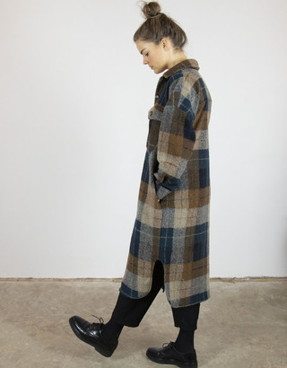 Busby & Fox - Dianna Check Coat - S/M | Blue & Brown