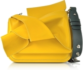 N°21 Small Yellow Leather Bow Shoulder Bag w/Dark Green Leather Shoulder Strap