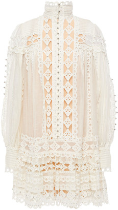 Zimmermann Studded Broderie Anglaise Cotton And Gauze Mini Dress