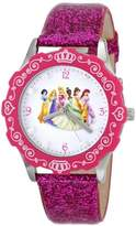 Disney Kids' W000405 Tween Princess Glitz Stainless Steel Watch with Glitter Pink Leather Band