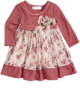 Bonnie Baby Floral-Print Striped Dress, Baby Girls (0-24 months)