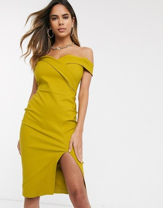 Vesper bardot midi pencil dress in ochre