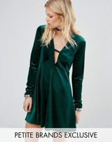 Glamorous Petite Long Sleeve Crinkle Velvet Skater Dress With Plunge Neck Detail