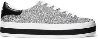 Alice + Olivia Ezra Glittered Canvas Platform Sneakers