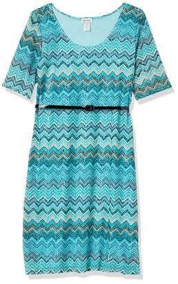 Star Vixen Women's Plus Size Elbow Sleeve Hourglass Dress with Belt