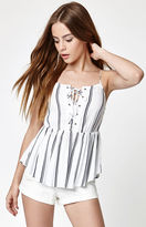 La Hearts Lace-Up Babydoll Tank Top