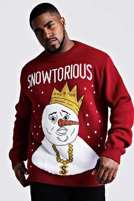 boohoo Big And Tall Snowtorious Christmas Jumper