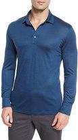 Ermenegildo Zegna High-Performance Wool Long-Sleeve Polo Shirt, Aqua
