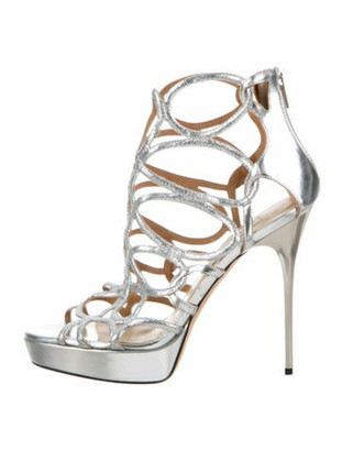 Jimmy Choo Cutout Accent Sandals Silver