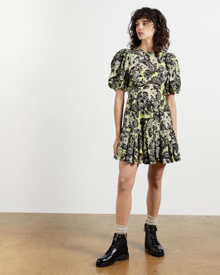 Ted Baker Paisley Mini Puff Sleeve Dress