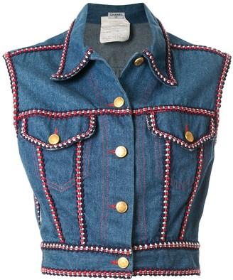 Chanel Pre Owned CC logos sleeveless denim jacket