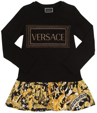 Versace Embellished Cotton Jersey & Poplin Dress