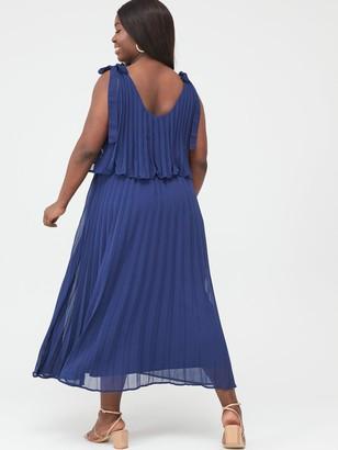 V By Very Curve Tiered Pleated Chiffon Midi Dress - Navy