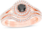 Zales 7/8 CT. T.W. Enhanced Black and White Diamond Bypass Frame Bridal Set in 14K Rose Gold