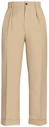 Saint Laurent Cropped Pleated Wool Pants