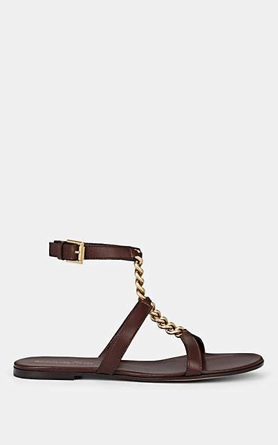 Gianvito Rossi Women's Chain-Detailed Ankle-Strap Leather Sandals - Brown