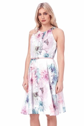 Roman Originals Women Floral Fit and Flare Dress with Belt - Ladies Occasion Evening Special Spring Summer Wedding Guest Mother of Bride Groom Race Day Sleeveless Skater Dress - Ivory - Size 14