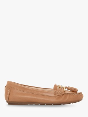 Dune Geena Tassel Moccasin Leather Loafers, Tan