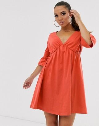 Asos Design DESIGN v neck frill sleeve smock dress-Orange