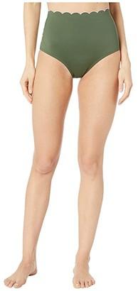 Kate Spade Scallop Wave Contrast Scalloped High-Waist Bikini Bottoms