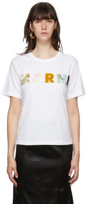 Marni White Patchwork Logo T-Shirt