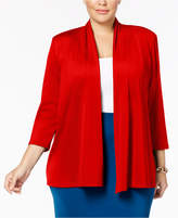 Kasper Plus Size Smocked-Back Blazer