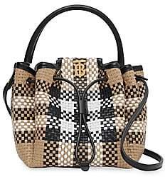 Burberry Women's Peony Vintage Check Woven Leather Bucket Bag