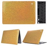 "MacBook Air 11-inch Case,Soundmae 2in1 Ultra Slim Bling Sparkly Glitter Pattern Hard Protector Case Snap Protective Cover + Keyboard Skin for Macbook Air 11.6"" [Fits A1370 / A1465] - Gold"