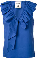 Semi-Couture Semicouture - pleated trim top - women - Cotton - 44