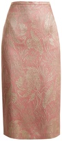 Rochas Floral-brocade silk-blend skirt