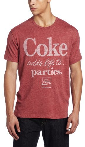 Junk Food CLOTHING Men's Coke Adds Life to Parties Crew Neck Shirt