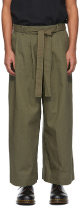 Naked and Famous Denim SSENSE Exclusive Khaki Wide-Leg Trousers