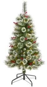 Nearly Natural Frosted Swiss Pine Artificial Christmas Tree with 100 Clear Led Lights and Berries