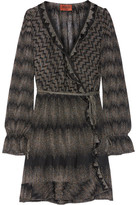 Missoni Ruffle-trimmed Metallic Crochet-knit Wrap Dress - Black