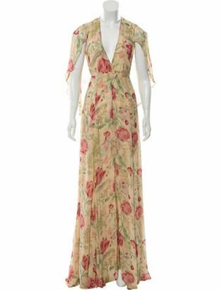Reformation Printed Maxi Dress Tan