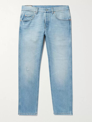 Gucci Slim-Fit Tapered Cropped Distressed Denim Jeans - Men - Blue