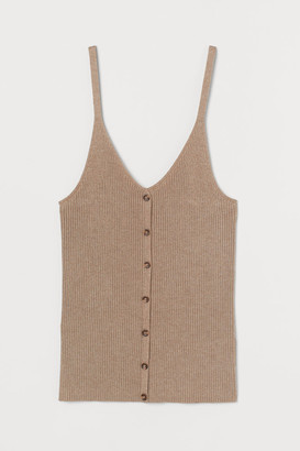 H&M Rib-knit Tank Top - Beige