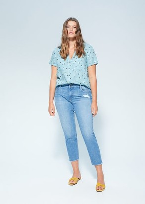 MANGO Violeta BY Pocket printed blouse sky blue - 10 - Plus sizes