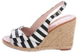 Kate Spade Striped Peep-Toe Sandal Wedges