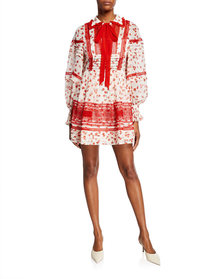 Self-Portrait Self Portrait Floral-Print Trimmed Chiffon Short Dress