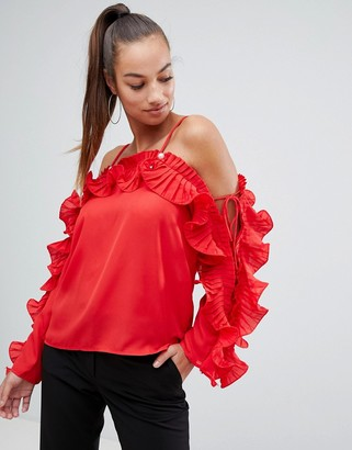AX Paris red frill blouse