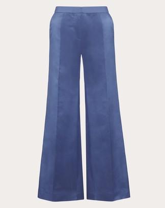 Valentino Duchesse-silk Trousers Women Dark Air Force Blue Silk 100% 38