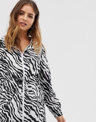 Brave Soul rain mac jacket in zebra print-Black