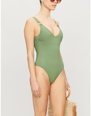 LOVE Stories Charlie faux-bamboo ring swimsuit