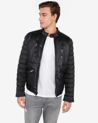 Express Vegan Leather Nylon Puffer Jacket