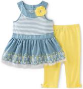 Kids Headquarters Blue Yoke Top & Yellow Capri Pants - Toddler & Girls